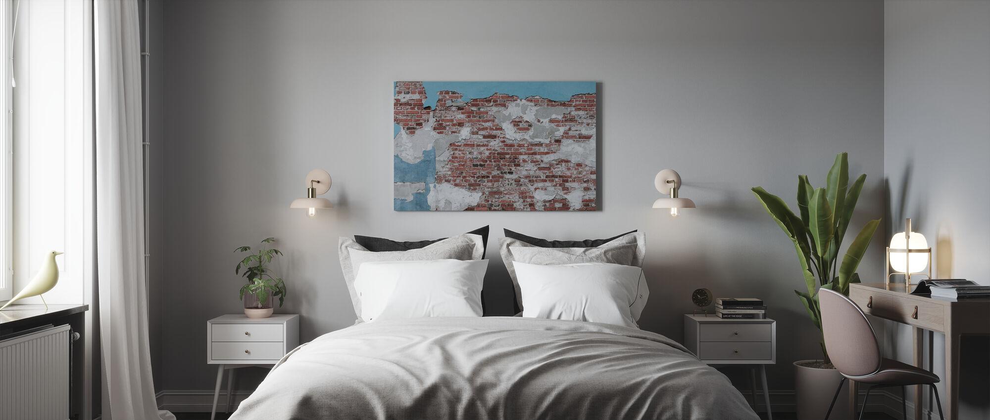 Slidte væg - Billede på lærred - Soveværelse