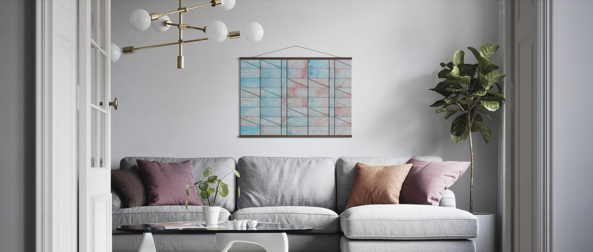 Blue and Red Tiles - Poster - Living Room