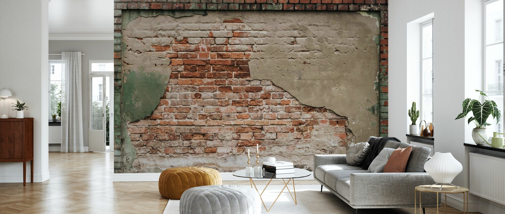Weathered Brown Wall - Wallpaper - Living Room