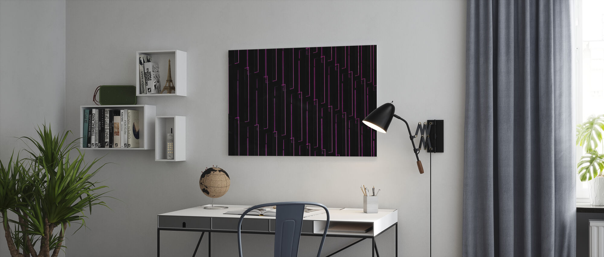 Purple Neon Lights - Canvas print - Office