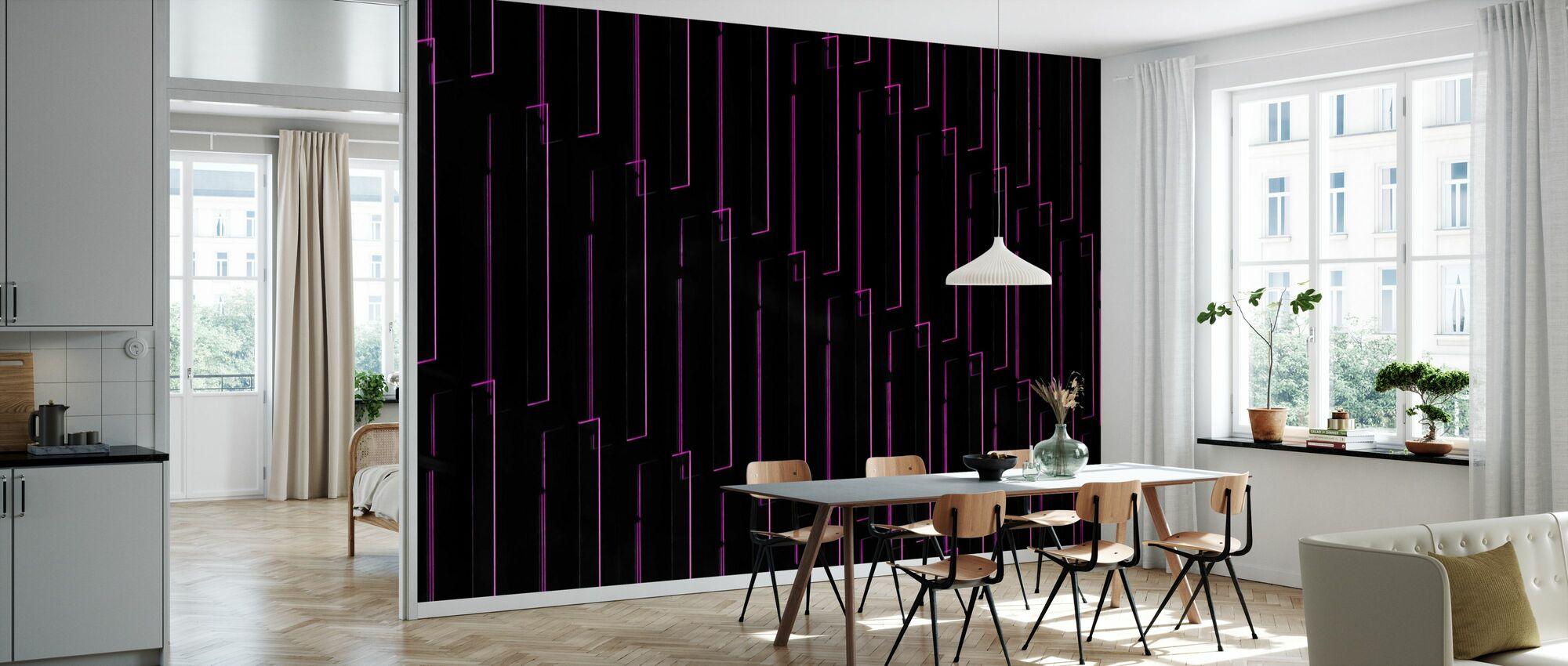 Paarse Neon Lichten - Behang - Keuken