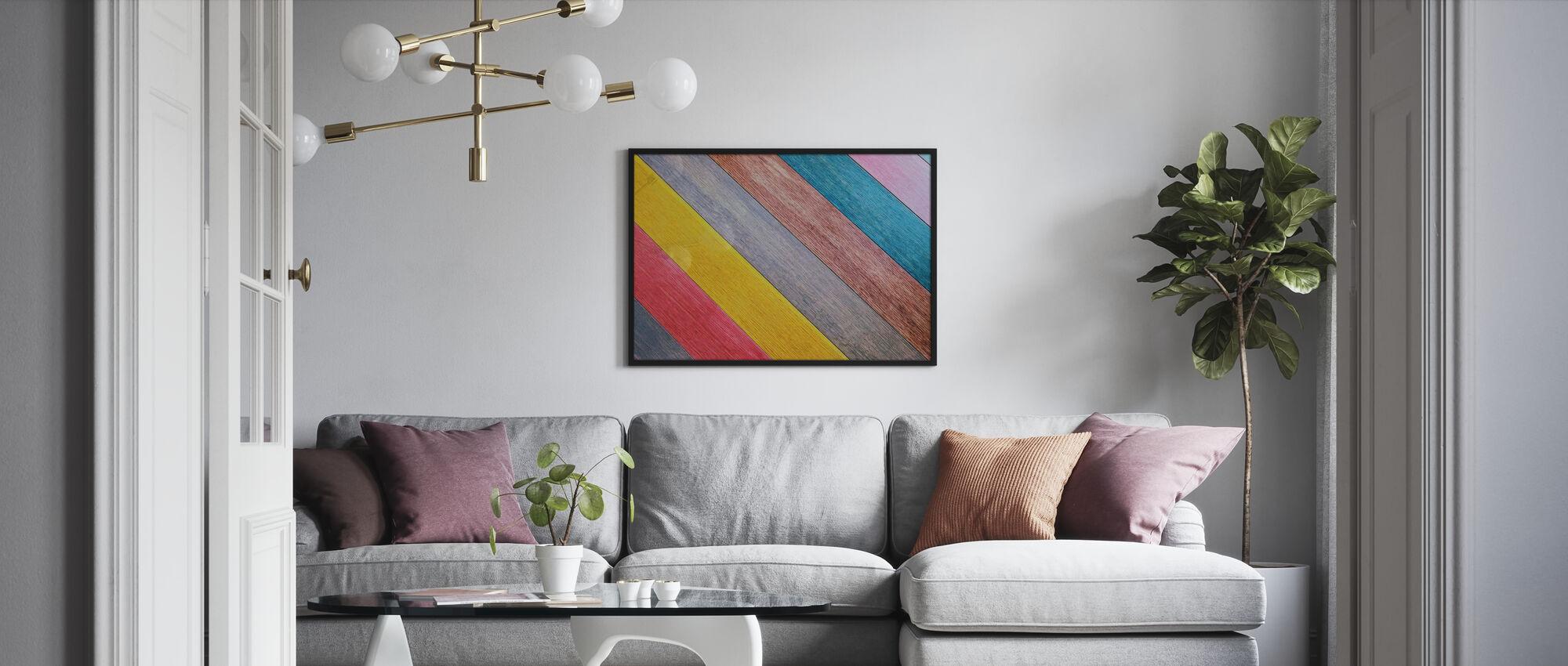 Fargerikt tre bord - Innrammet bilde - Stue