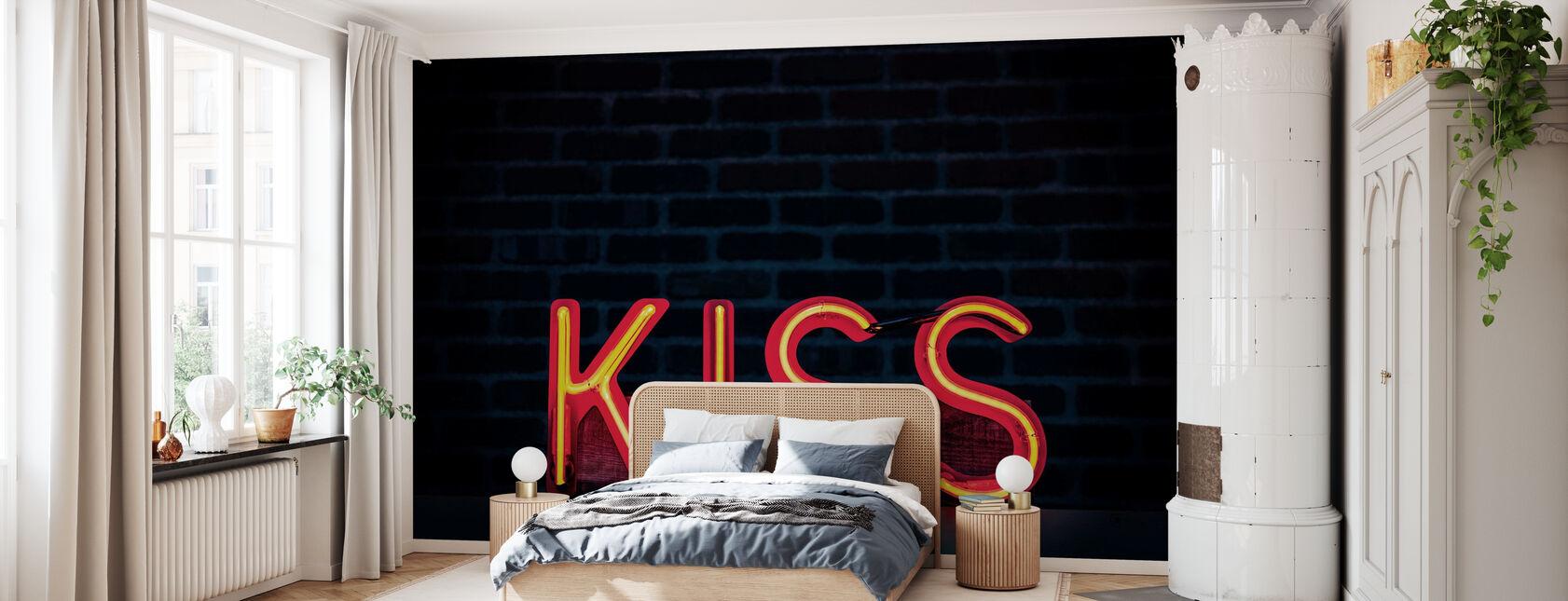 Kiss Neon Teken - Behang - Slaapkamer