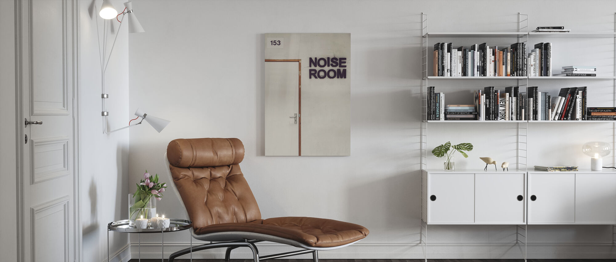 Noise Room Door - Canvas print - Living Room