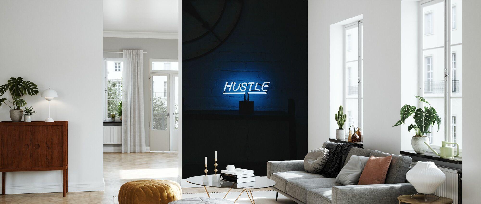 Hustle Neon Sign - Wallpaper - Living Room
