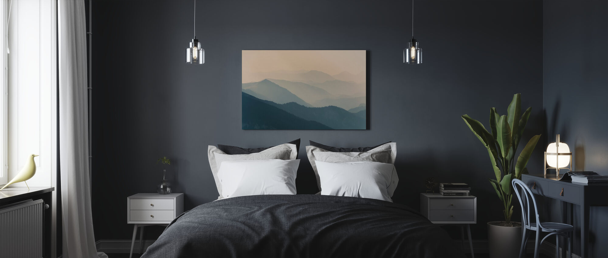 Pale Mountain Silhouettes - Canvas print - Bedroom