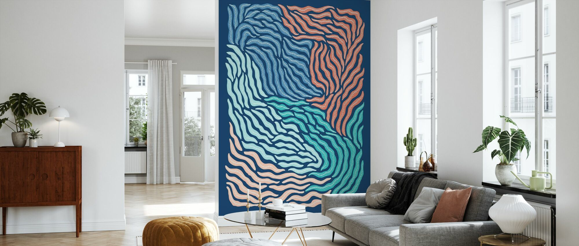 Acid - Blue - Wallpaper - Living Room
