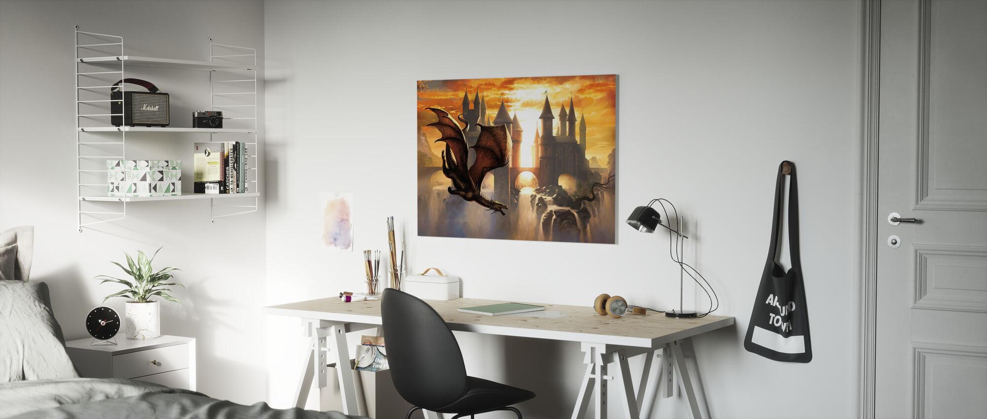 Sunset Dragon - Canvas print - Kids Room