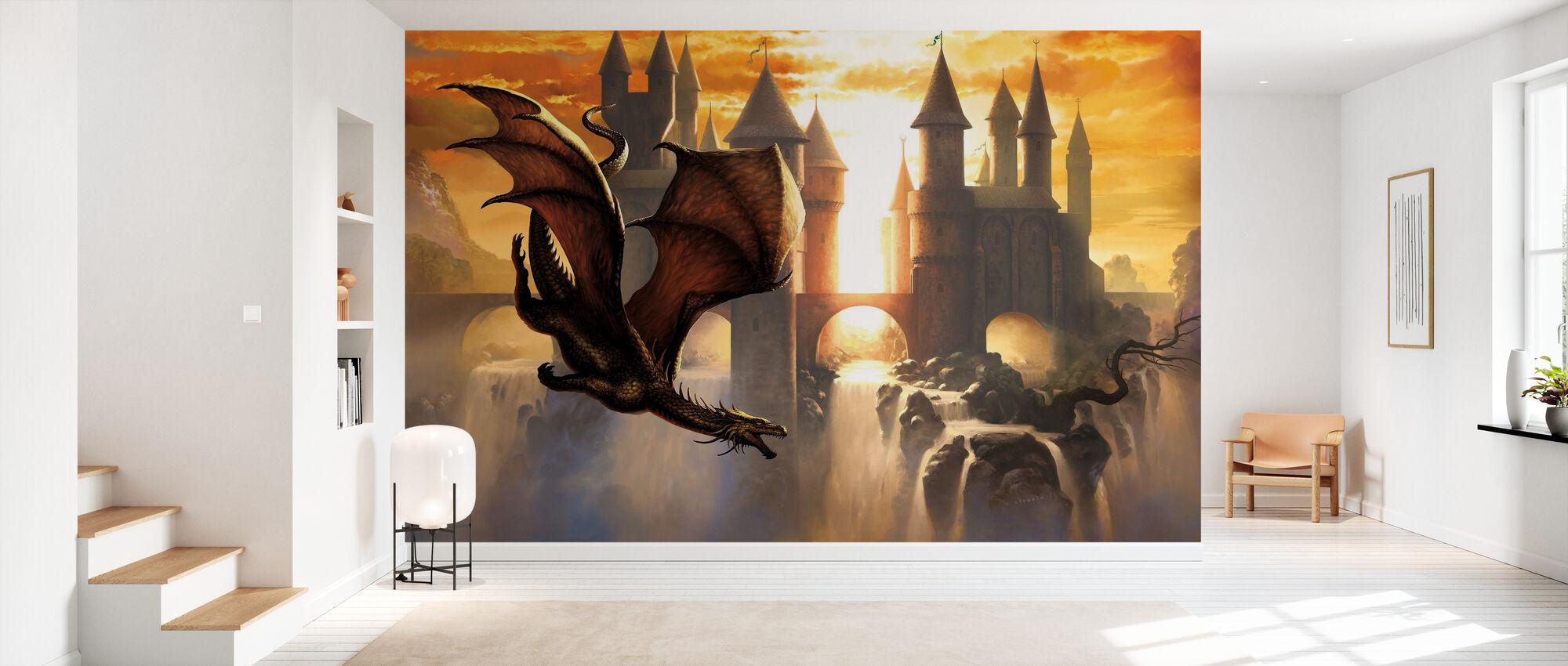 Dragon du coucher du soleil - Papier peint - Entrée