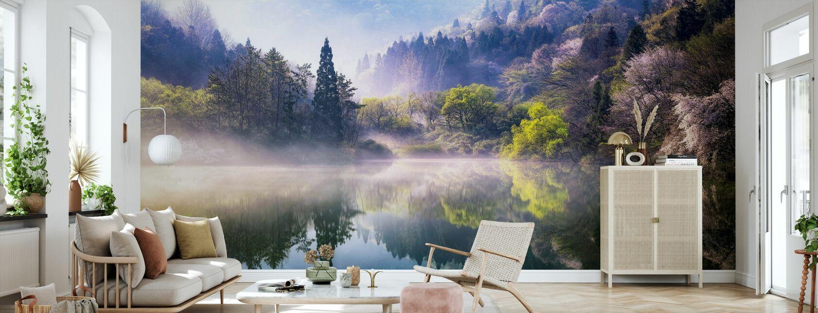 Reflectie meer - Behang - Woonkamer