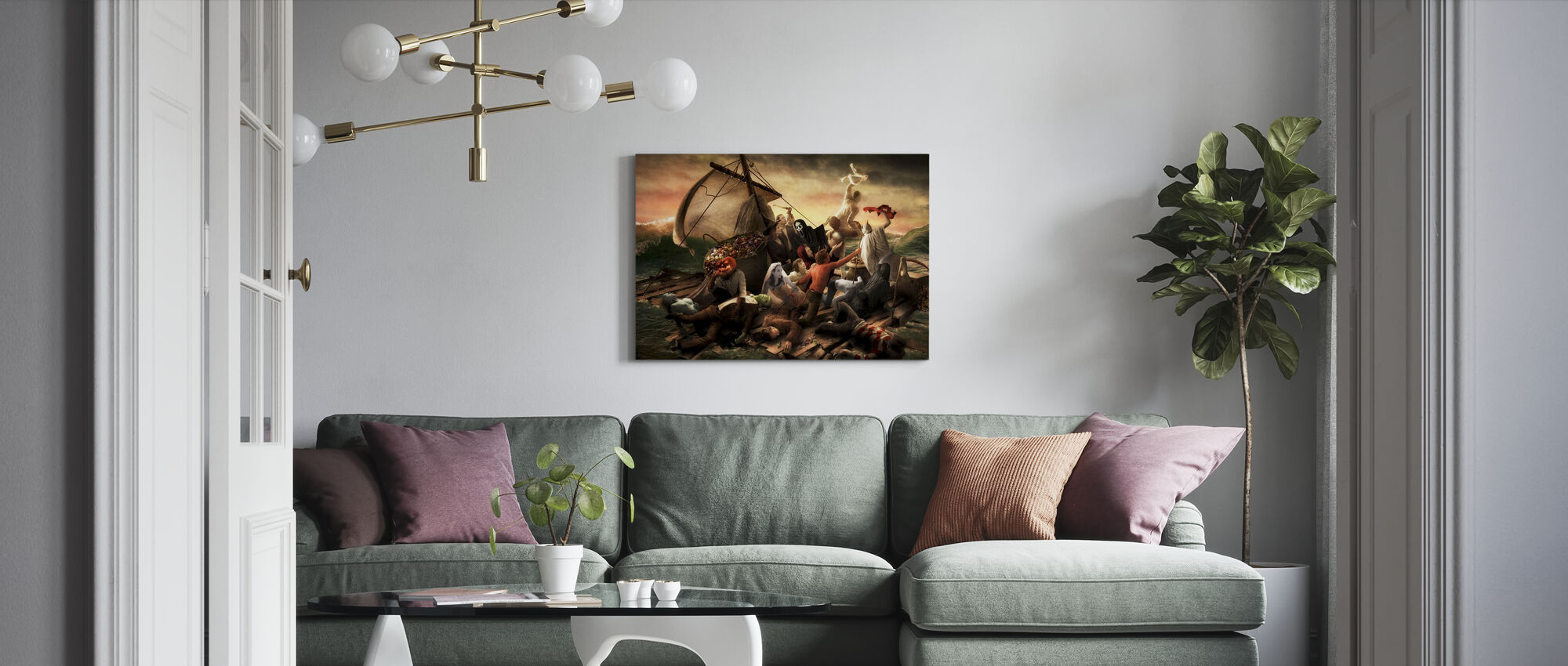 Flottan av Halloween - Canvastavla - Vardagsrum