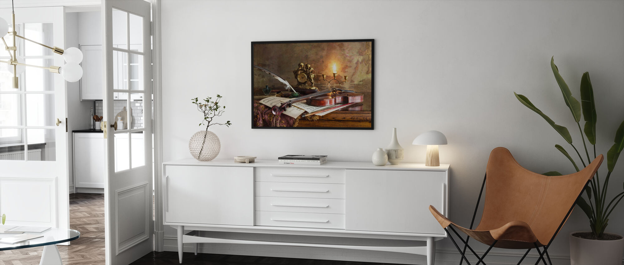Still Life with Violin and Clock - Poster - Living Room