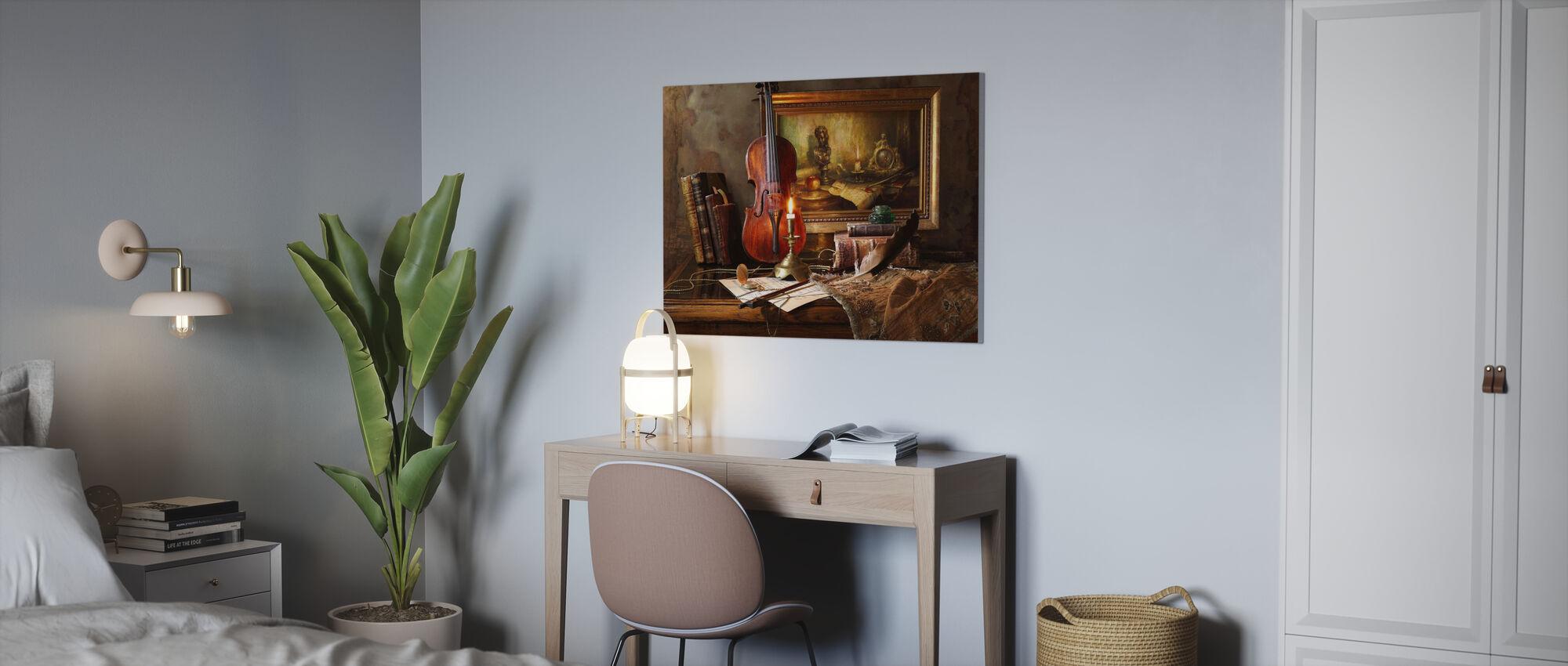 Stilleven met viool en schilderen - Canvas print - Kantoor