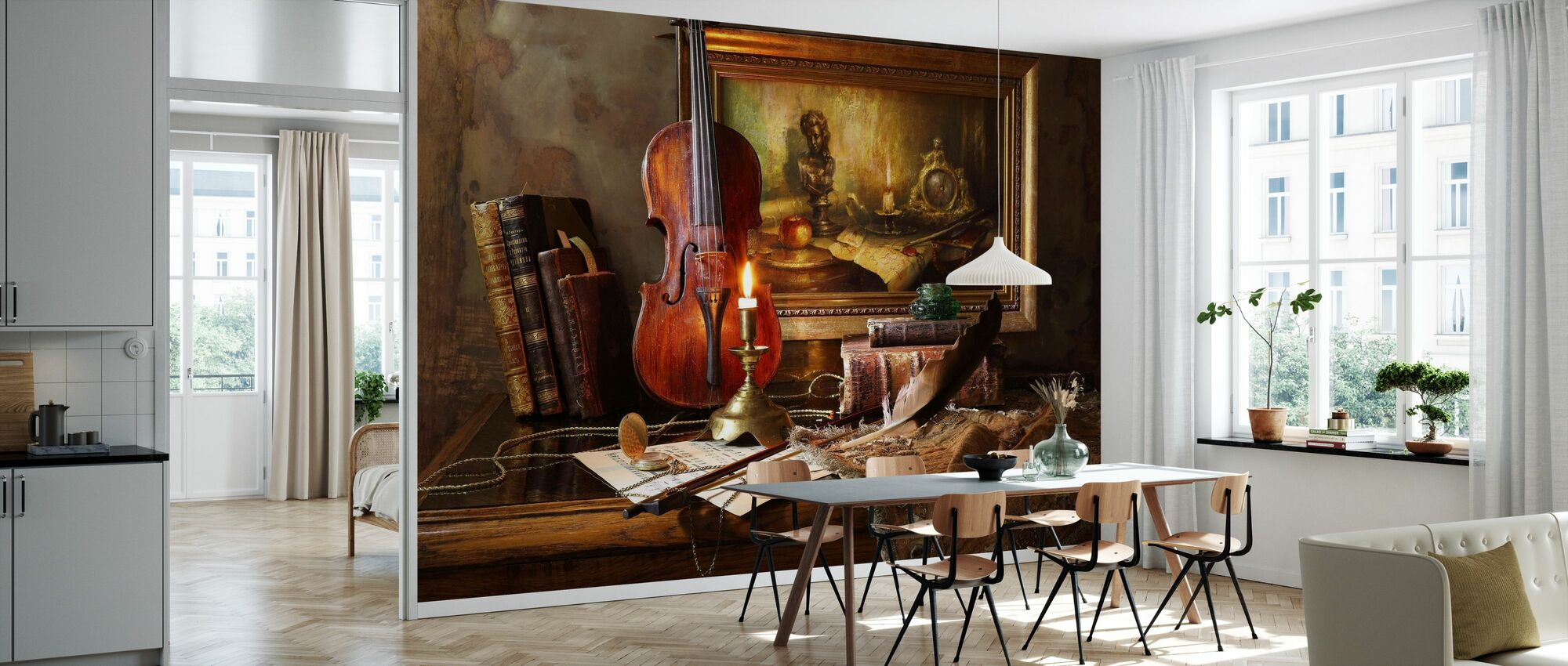 Still Life with Violin and Painting - Wallpaper - Kitchen