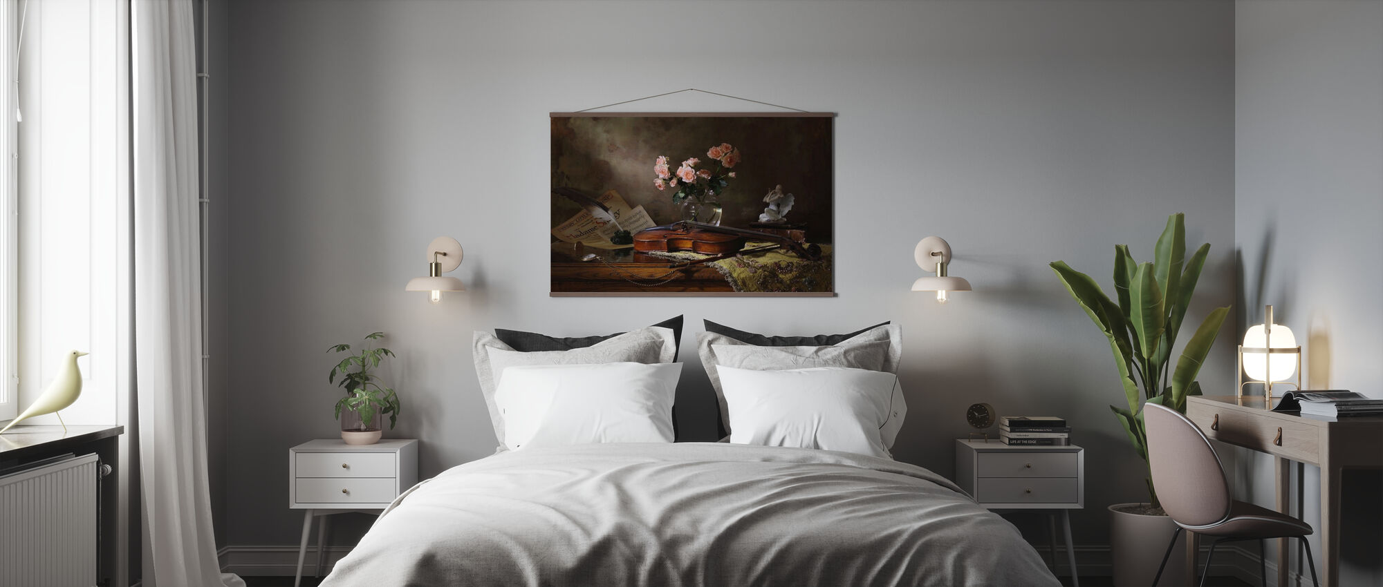Still Life with Violin and Roses - Poster - Bedroom