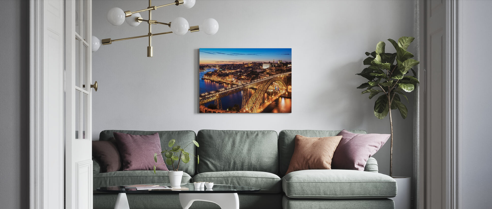 Portugal Porto Blue Hour - Canvas print - Living Room
