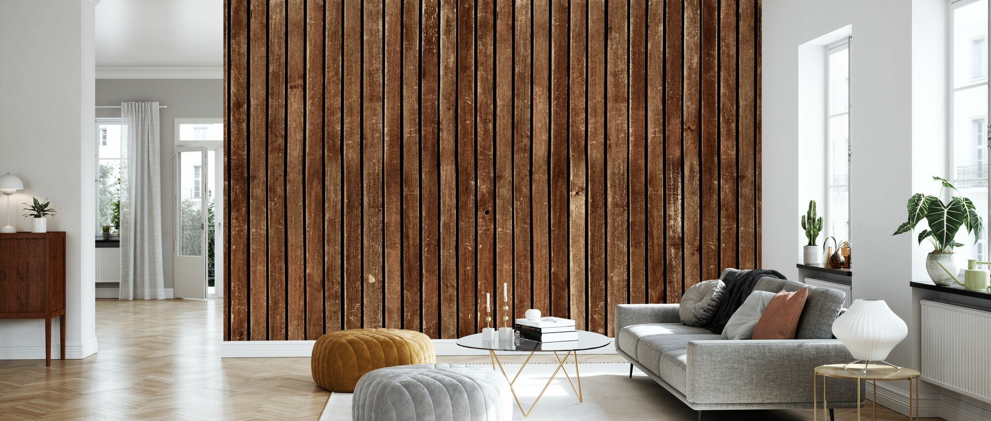 Torn Plank Wall - Wallpaper - Living Room