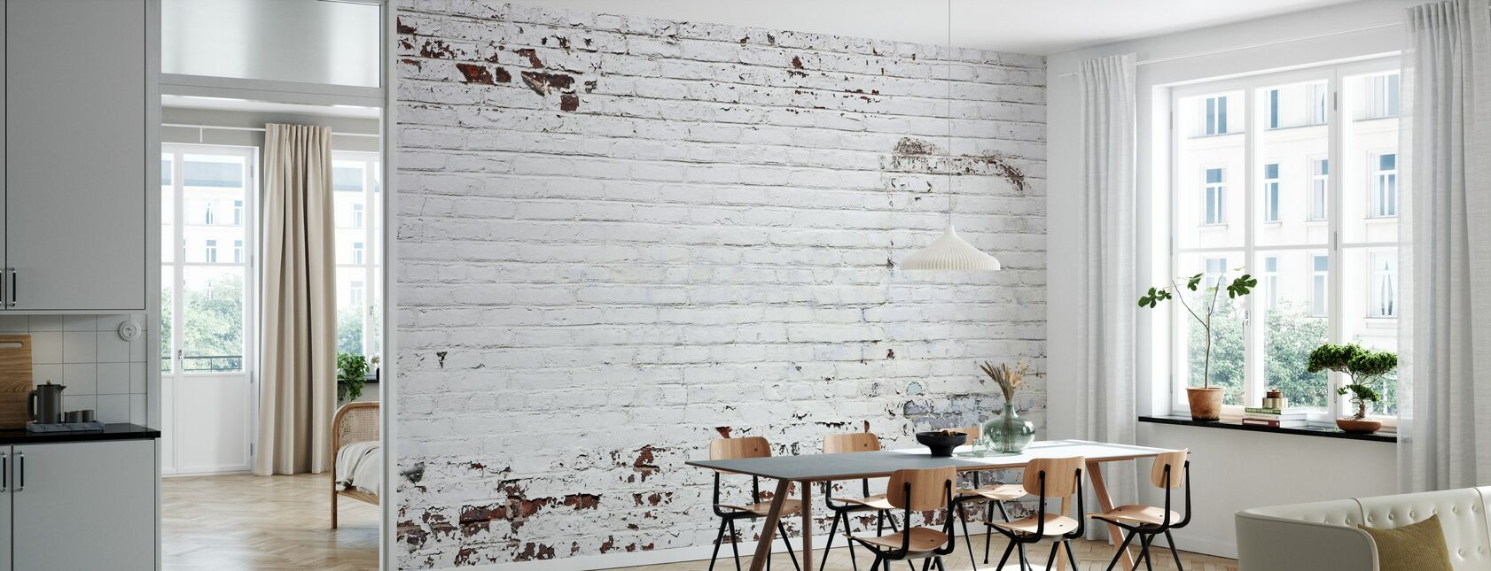 Gamle murstensvæg - Tapet - Køkken