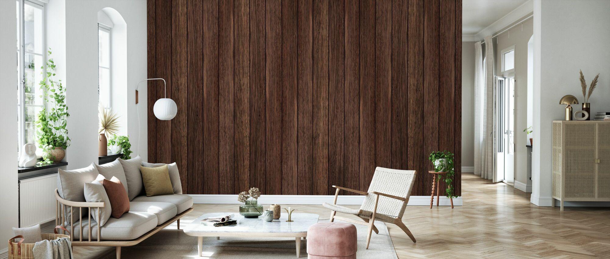 Dark Plank Wall - Wallpaper - Living Room