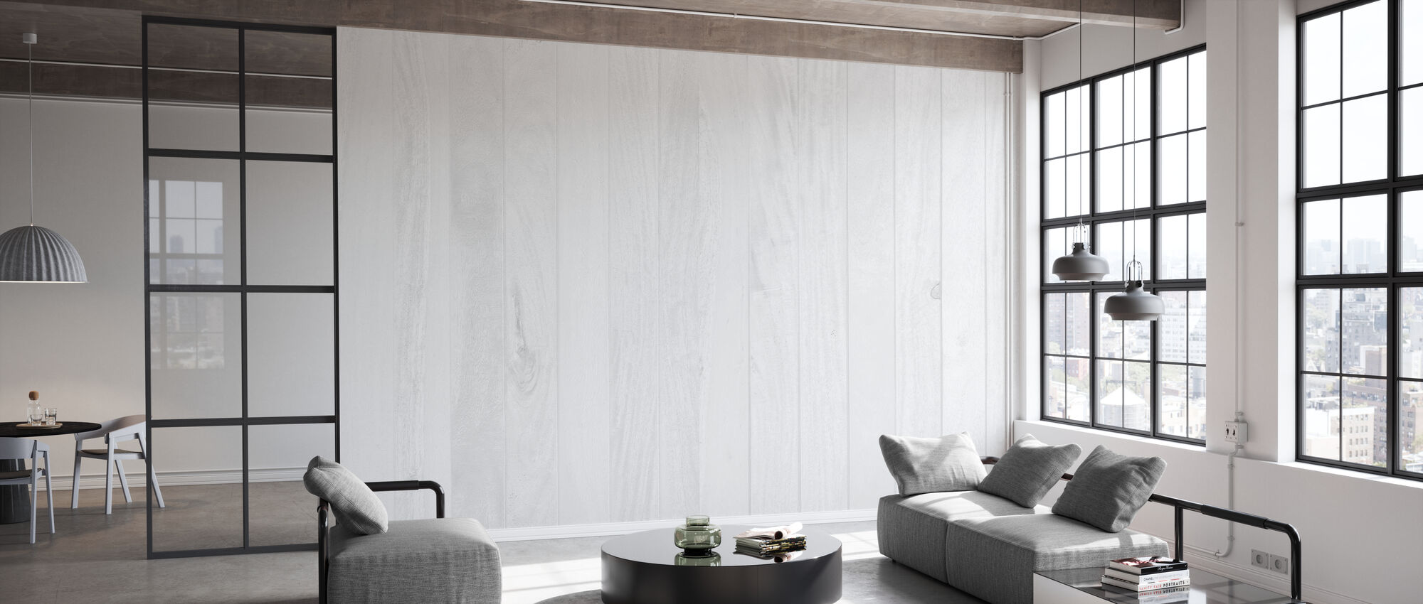 White Wooden Wall - Wallpaper - Office