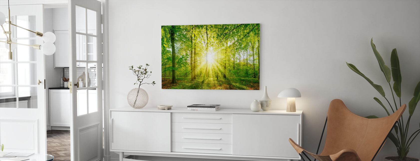 Sonnenuntergang Wald - Leinwandbild - Wohnzimmer