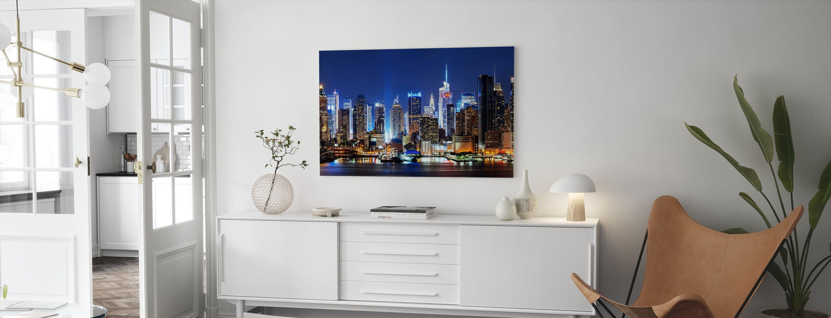 New York City Night Skyline - Canvas print - Living Room