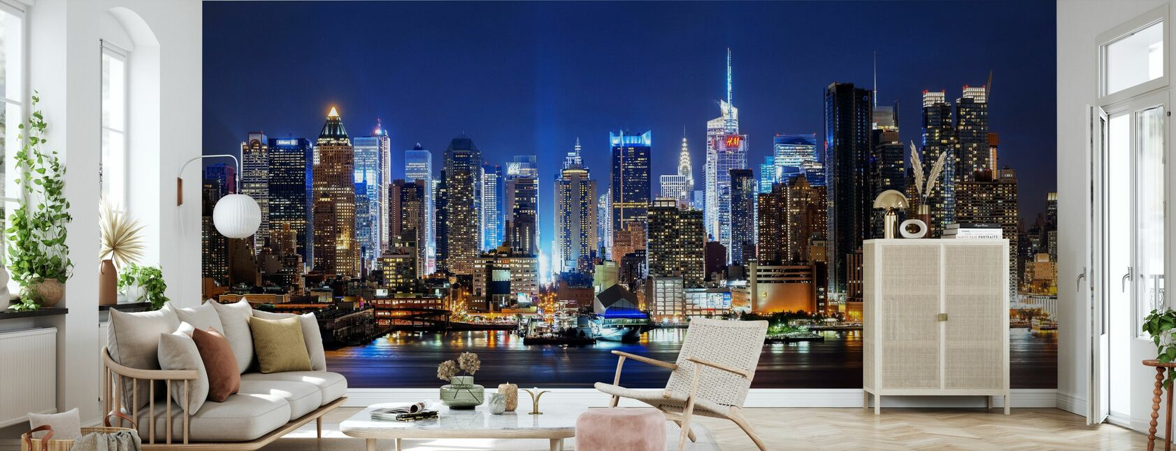 New York City Night Skyline - Behang - Woonkamer