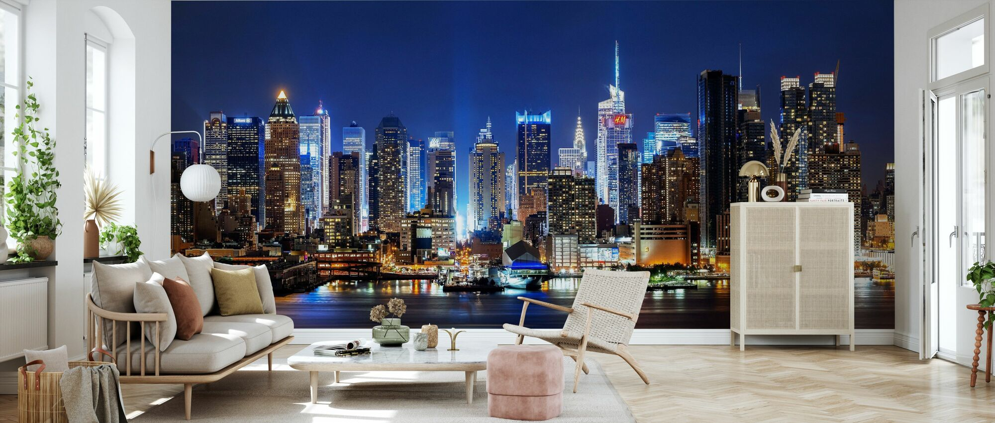 New York Night Skyline - Tapet - Vardagsrum