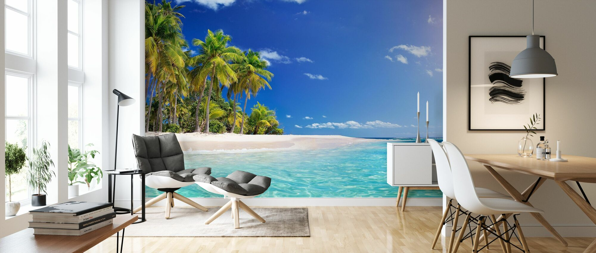 Palm Tree Beach - Wallpaper - Living Room