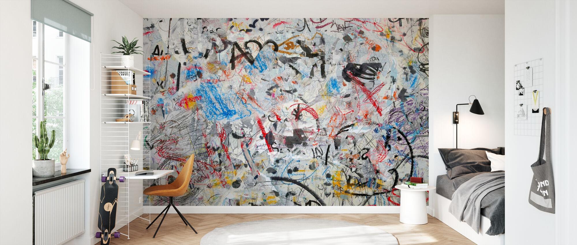 Grunge Graffiti Wall - Wallpaper - Kids Room