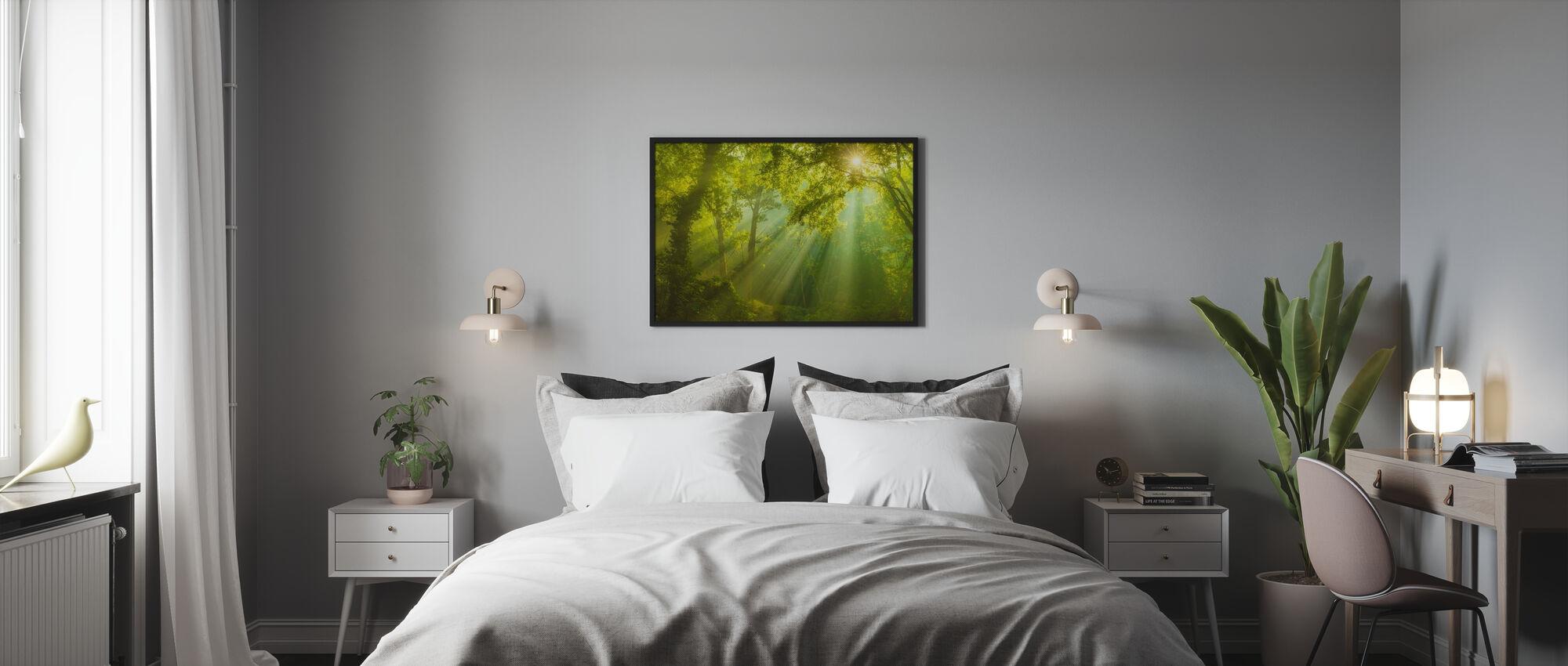 Grøn skov sollys - Plakat - Soveværelse
