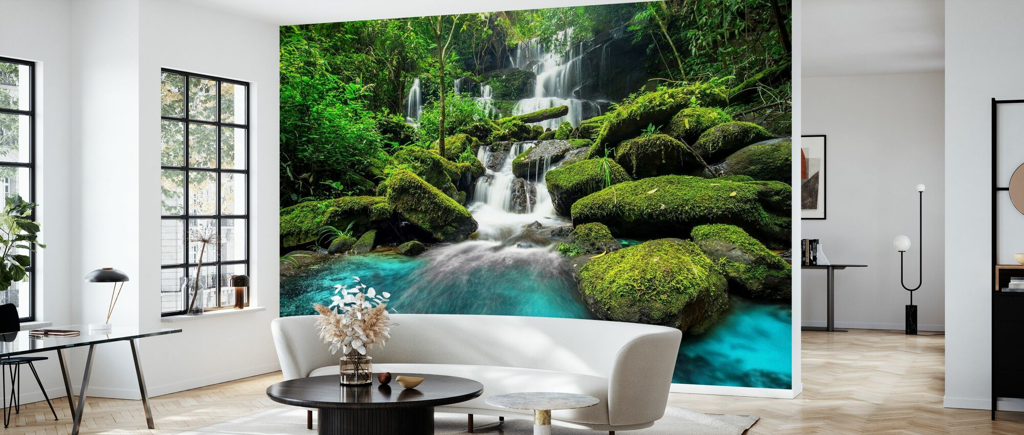 Green Forest Waterfall - Wallpaper - Living Room