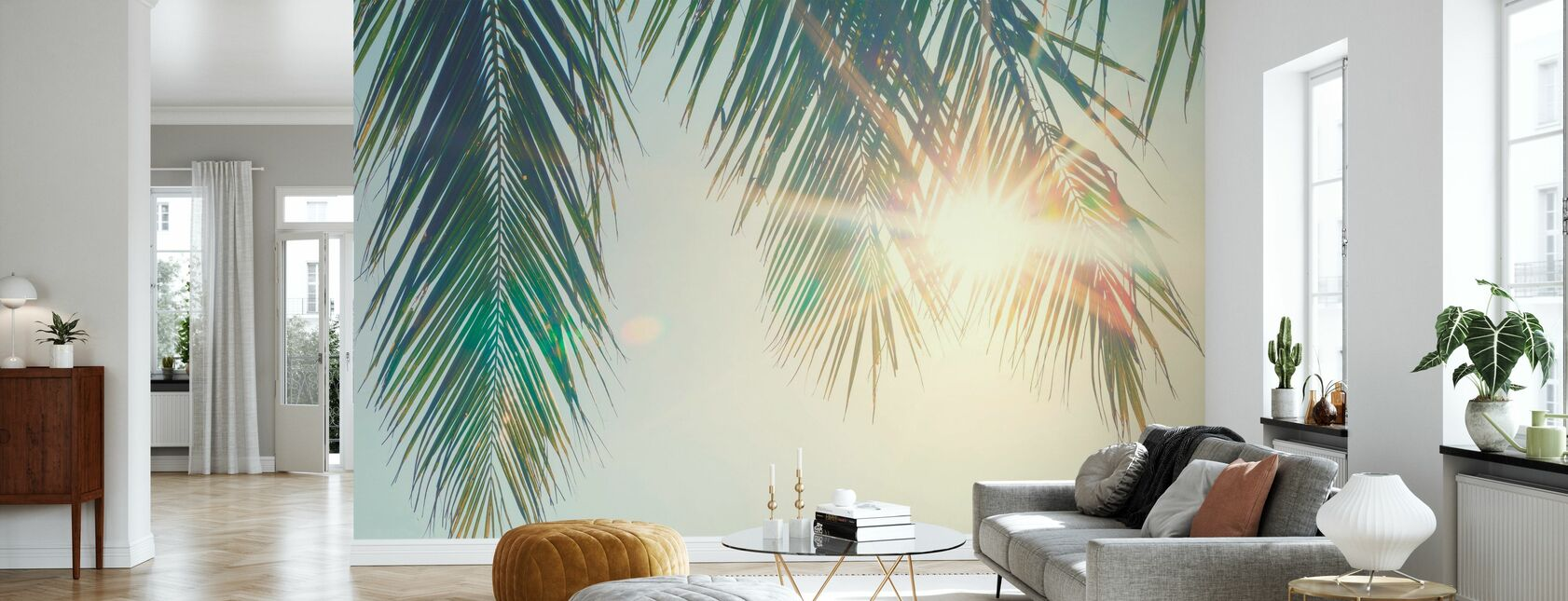 Palm Bladeren Zonsondergang - Behang - Woonkamer