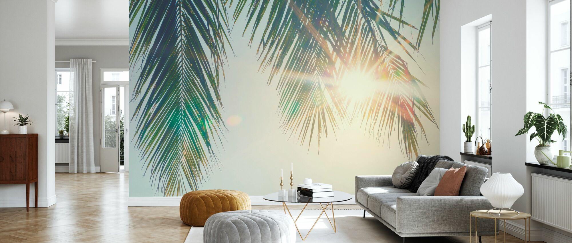 Palmenblätter Sonnenuntergang - Tapete - Wohnzimmer