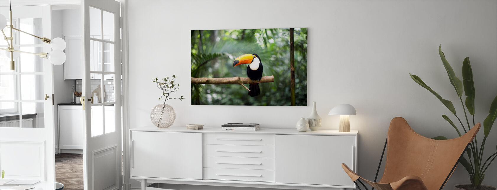 Toucan on the branch - Canvas print - Living Room