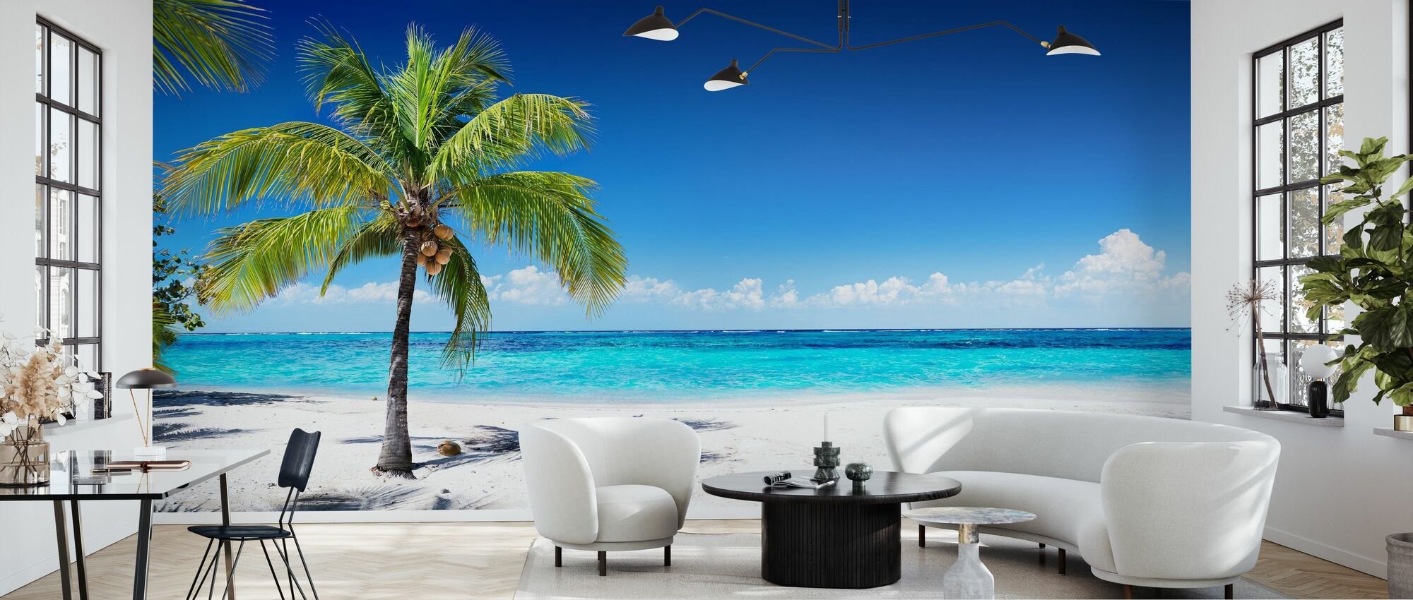 Coral Beach with Palm Tree - Wallpaper - Living Room