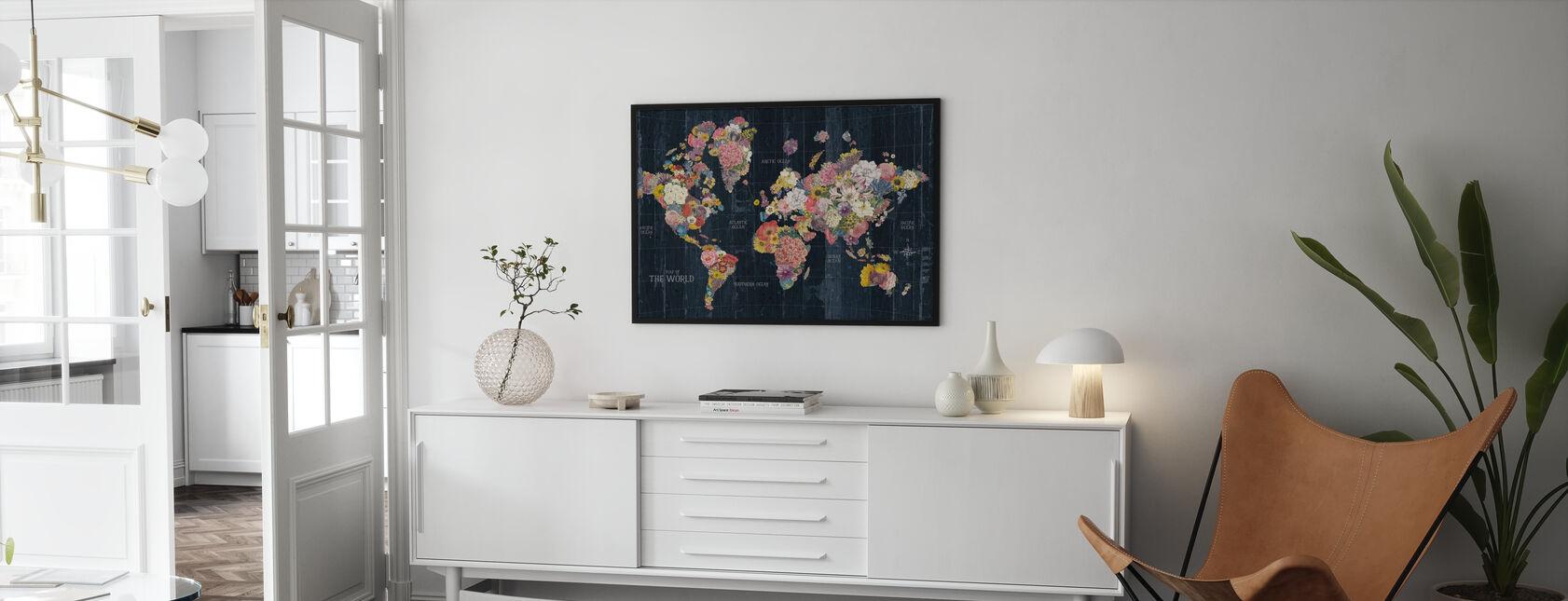 Botanical Floral Map Words - Framed print - Living Room
