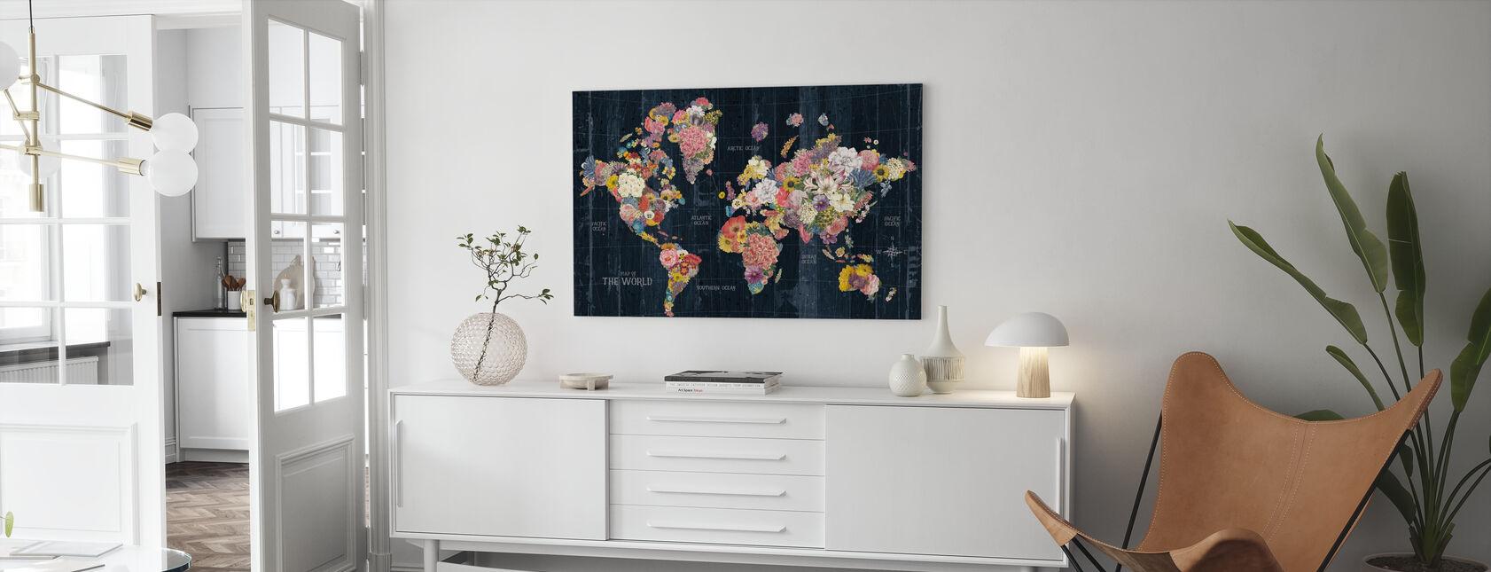 Botanical Floral Map Words - Canvas print - Living Room