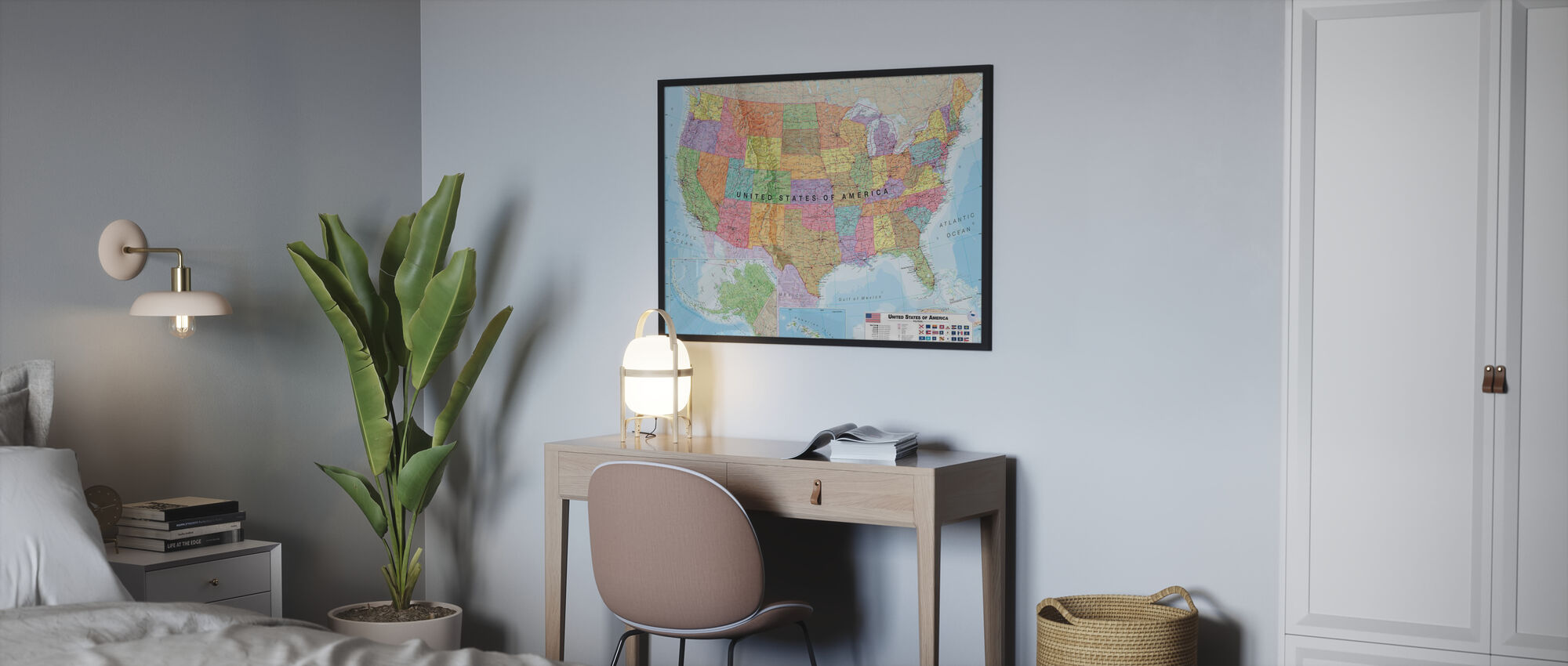 Political USA Map - Poster - Bedroom