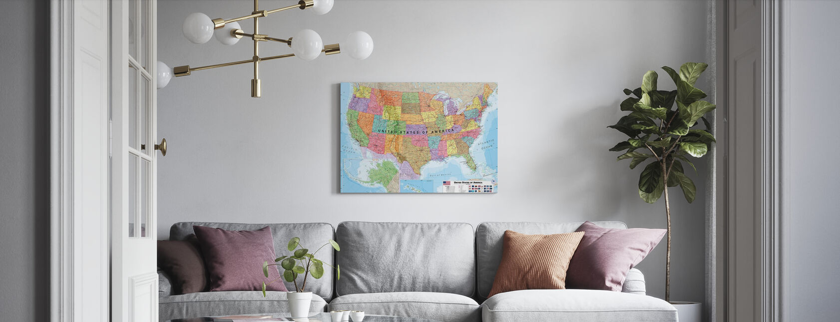 Political USA Map - Canvas print - Living Room