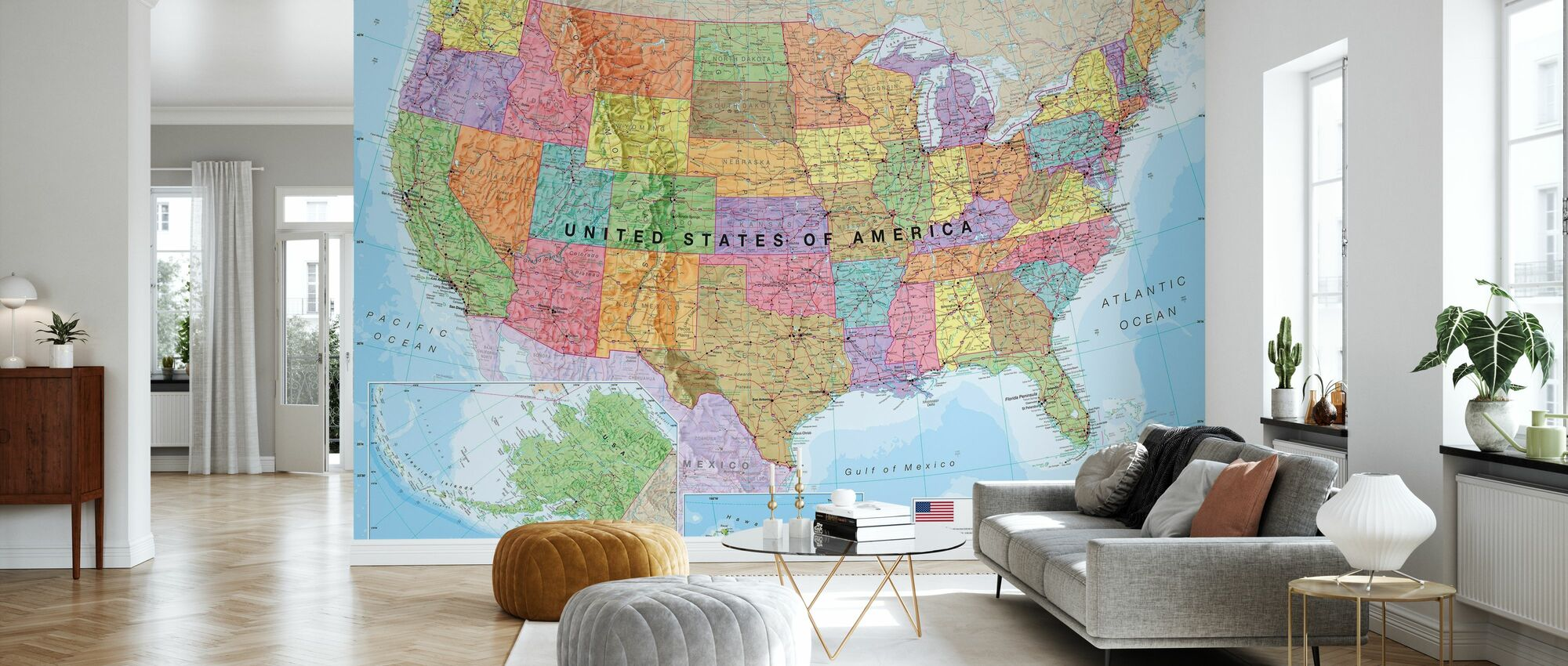 Political USA Map - Wallpaper - Living Room