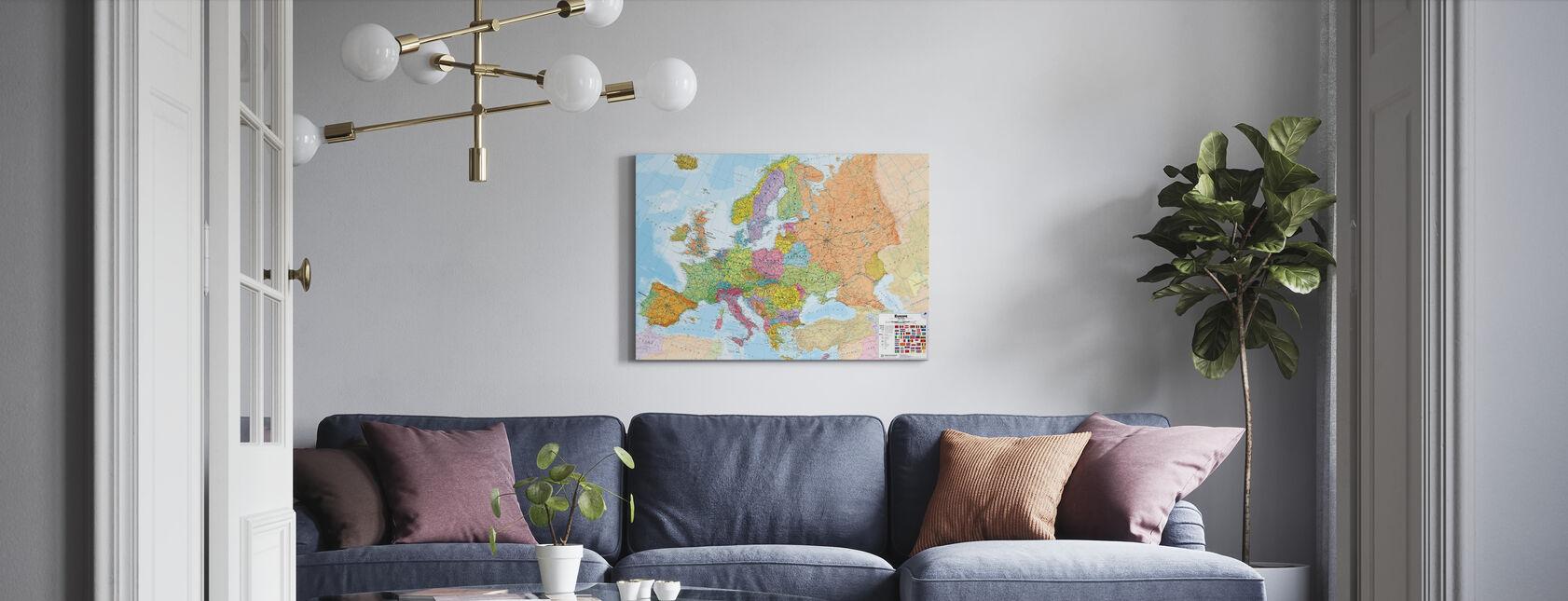 Kort over det politiske Europa - Billede på lærred - Stue