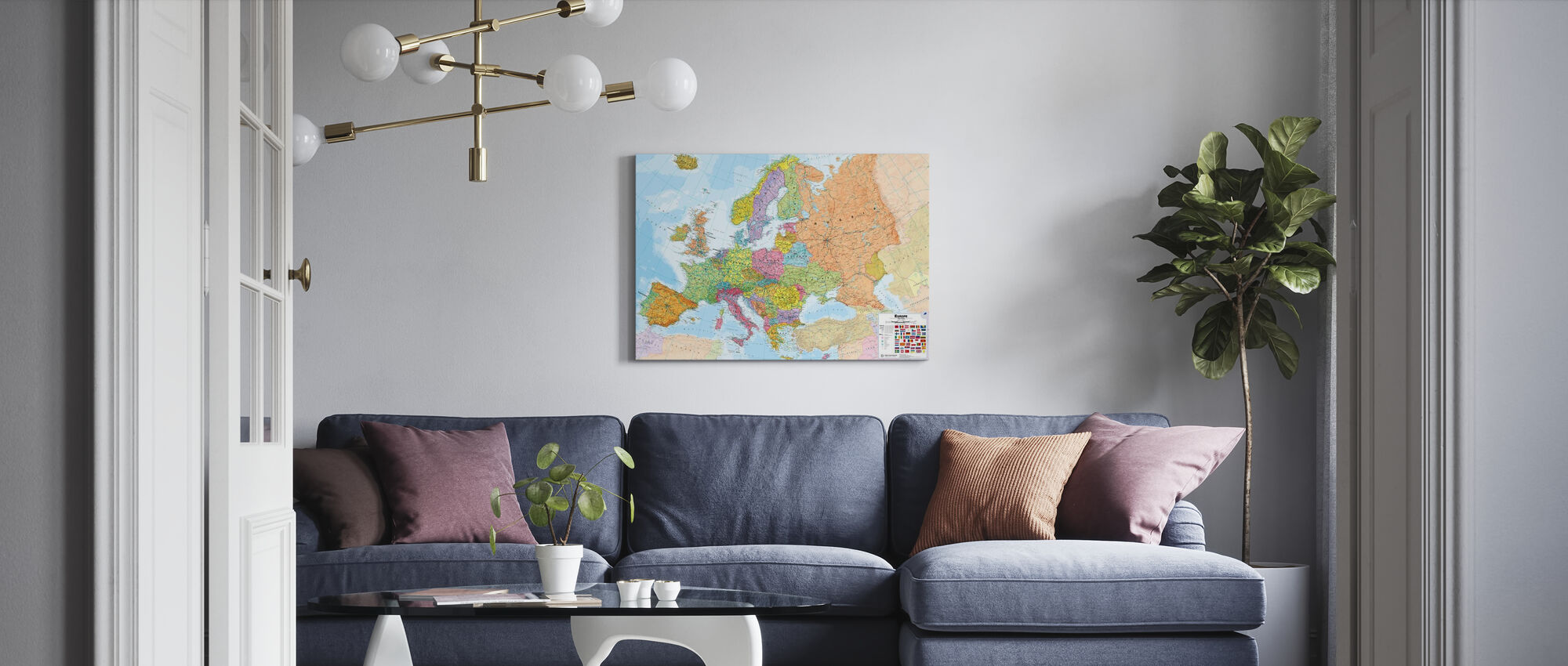 Political Europe Map - Canvas print - Living Room