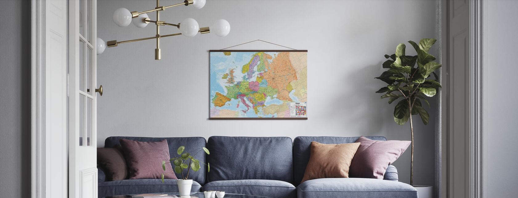 Politisk Europa Kort - Plakat - Stue