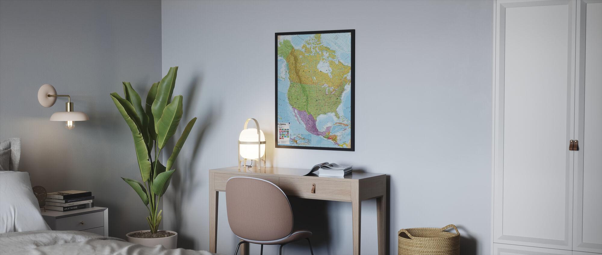 Politische Nordamerika Karte - Poster - Schlafzimmer