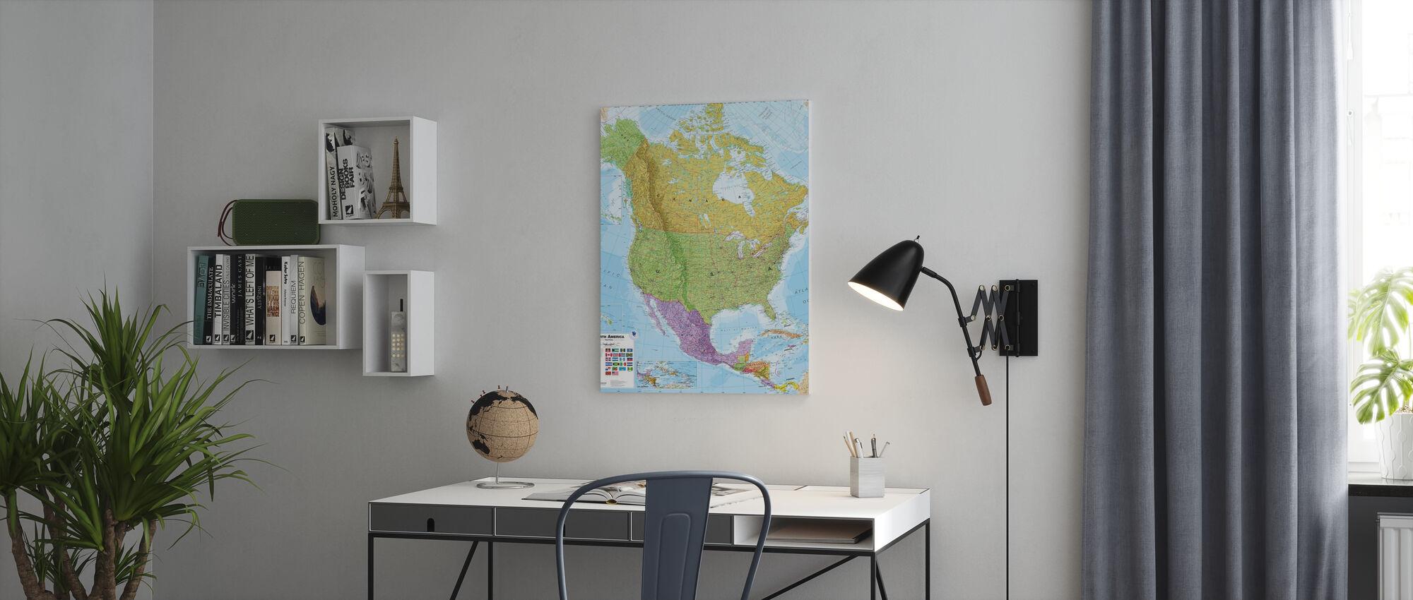 Politisk Nordamerika Kort - Lerretsbilde - Kontor