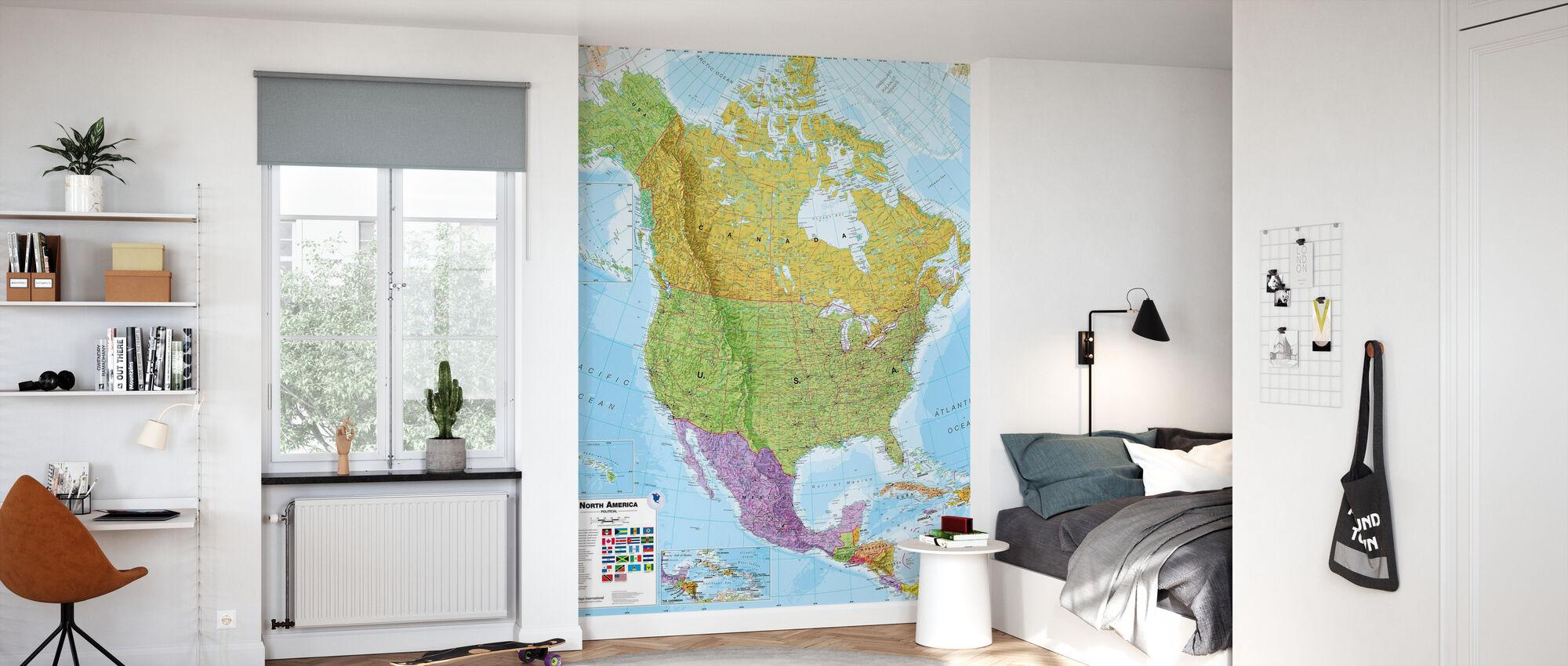 Politische Nordamerika Karte - Tapete - Kinderzimmer