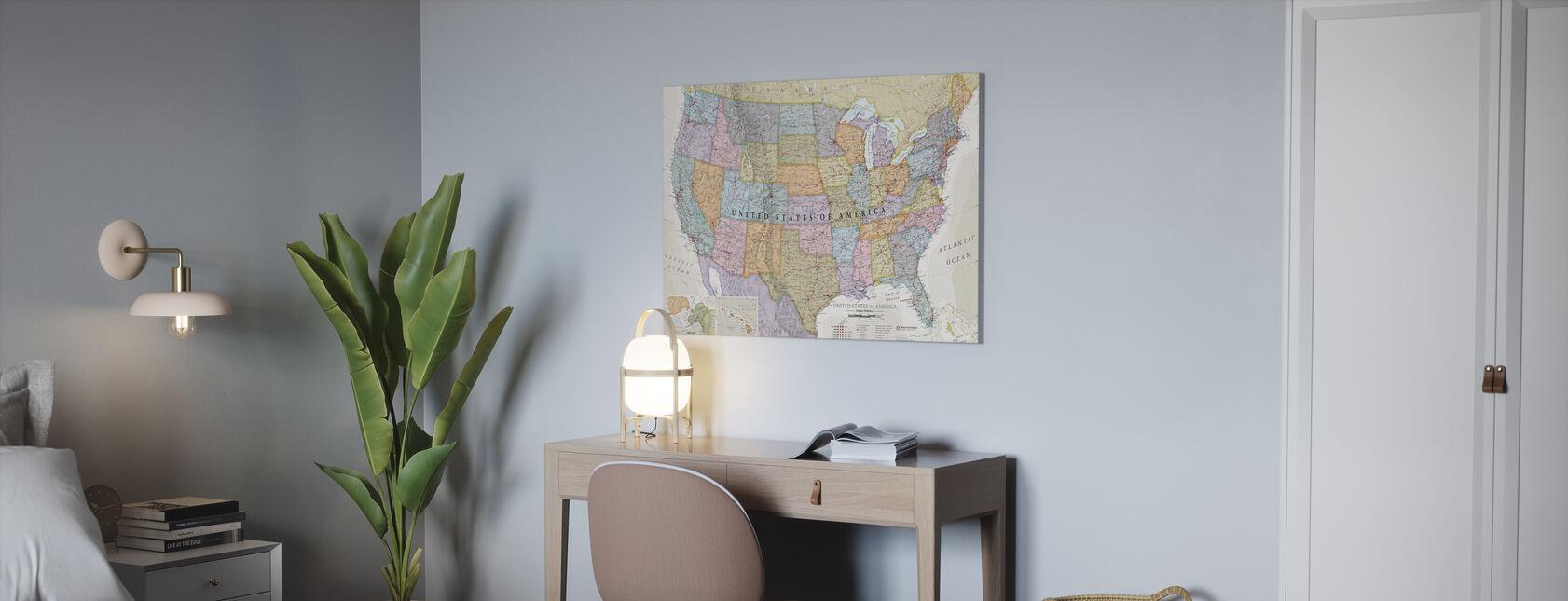 Classic Political USA Karta - Canvastavla - Kontor