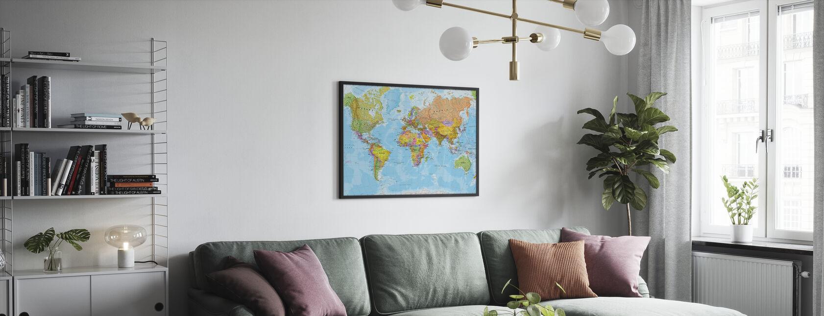 Politisk verdenskort - Indrammet billede - Stue