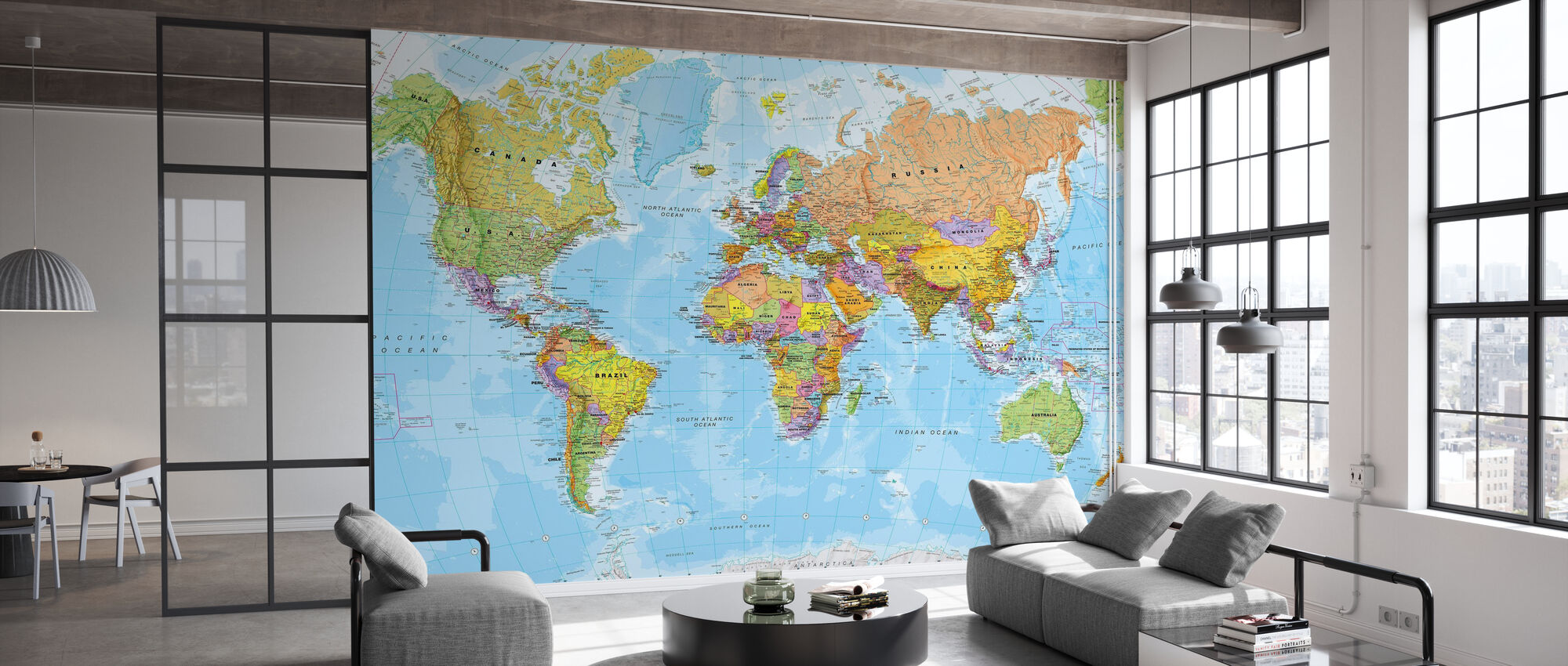 Political World Map - Wallpaper - Office